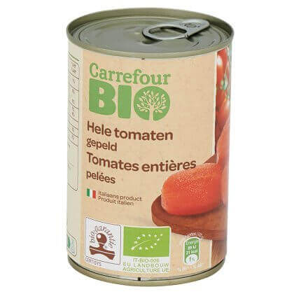 Carrefour Bio Hele Tomaten Gepeld 400 g