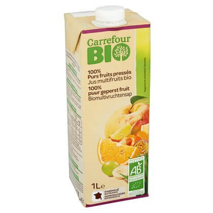 Carrefour Bio 100% Purs Fruits Pressés Jus Multifruits Bio 1 L