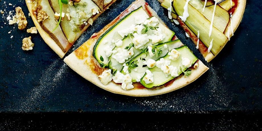 Pizza courgette, feta, anchois