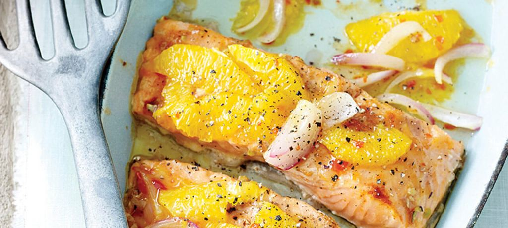 Zalm à l'orange met witloof-appel salade